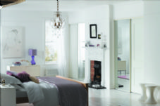 2 WHITE FRAME MIRROR SLIDING WARDROBE DOORS AND TRACK 1498mm